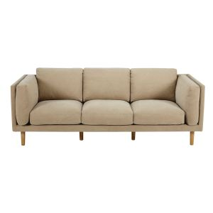 Beige 4-seater brushed cotton sofa