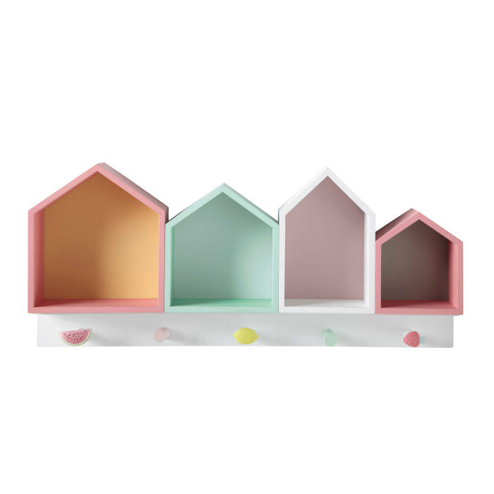 multicoloured hook rail with 4 houses maisons du monde