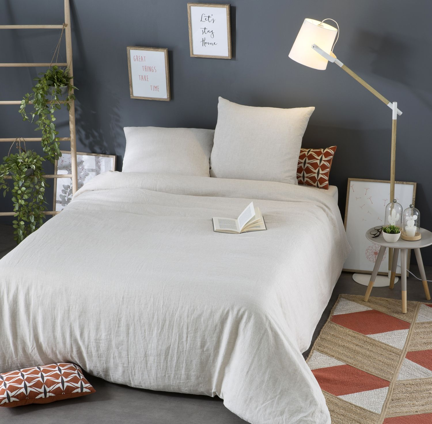 bettw schegarnitur aus gewaschenem leinen beige 220x240 maisons du monde. Black Bedroom Furniture Sets. Home Design Ideas