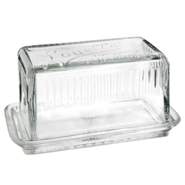 Beurrier en verre transparent RETRO