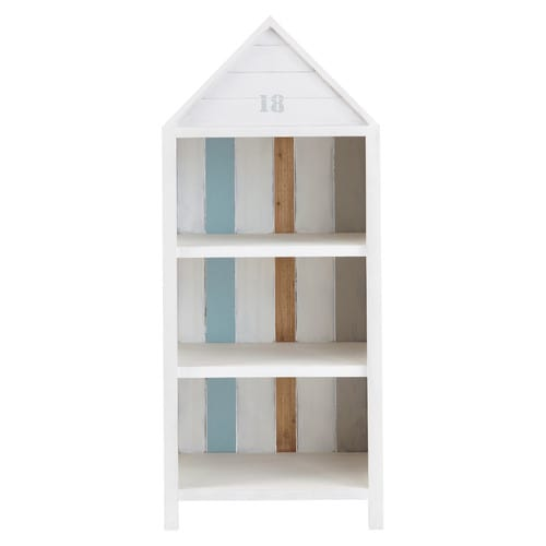 biblioth que cabine de plage en bois blanc l 60 cm oc an. Black Bedroom Furniture Sets. Home Design Ideas