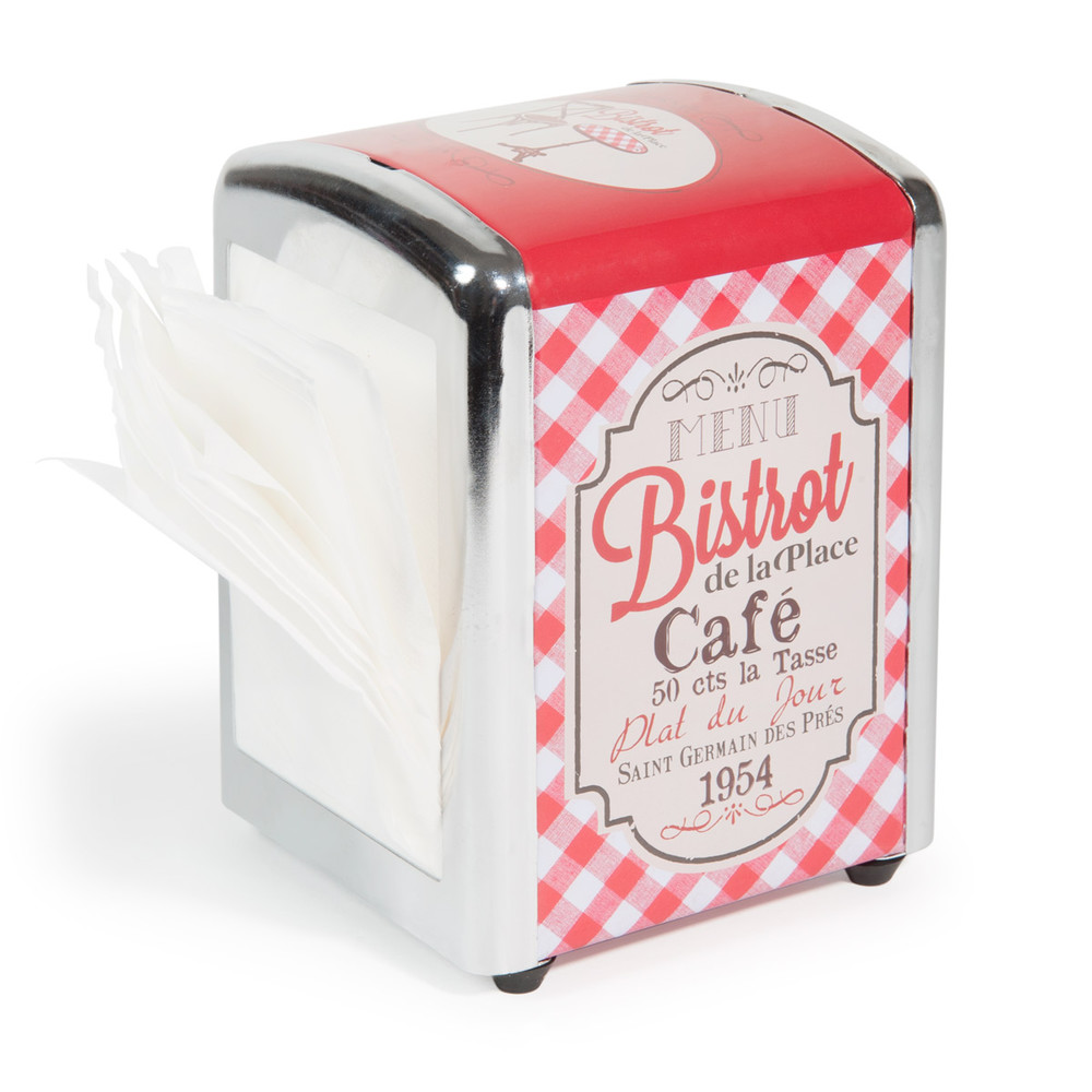 BISTROT metal napkin dispenser in red 13 x 11cm