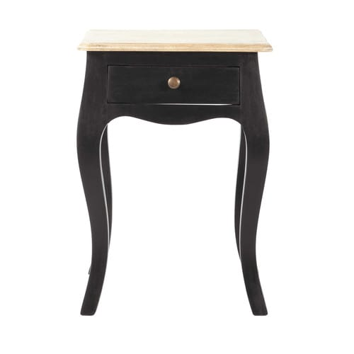 Black Acacia and Mango Bedside Table with Drawer