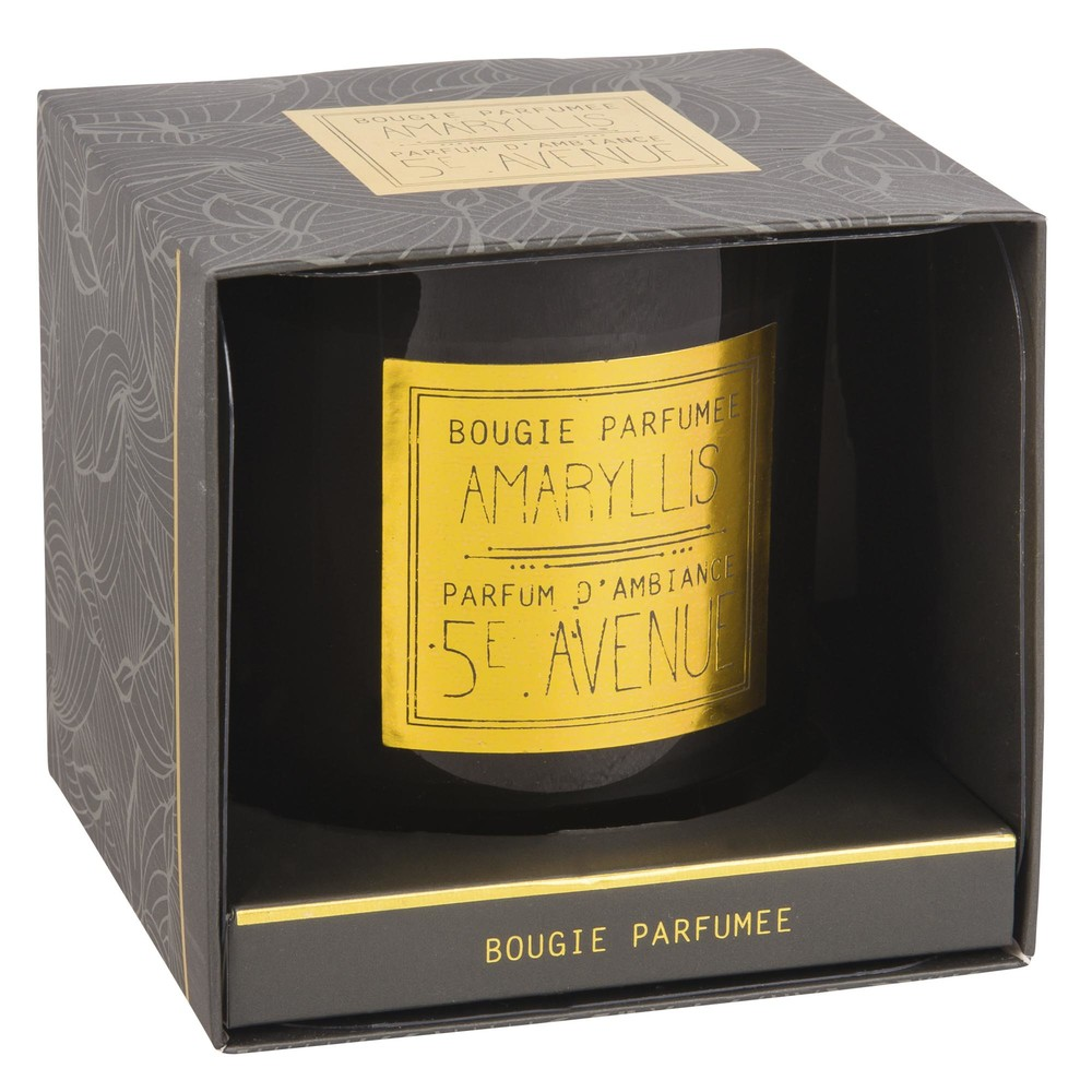 BLACK AMARYLLIS Scented Candle in Black and Gold Glass Holder