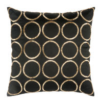 Black Cushion Cover with Round Gold Print 40x40