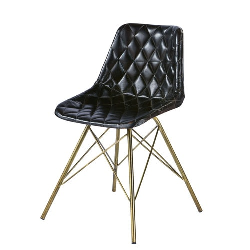 Black Leather Industrial Tufted Armchair
