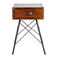 Black Metal and Brown Leather 1-Drawer Bedside Table Sullivan