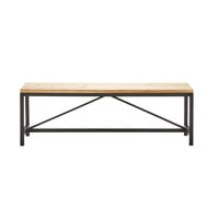 Black Metal and Solid Fir Bench L 140 cm