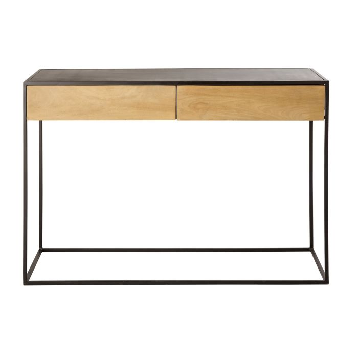 Side Table Met Lade.Black Metal And Solid Mango Wood 2 Drawer Console Table Wayampi
