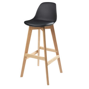 Black Scandinavian Bar Chair with Solid Oak