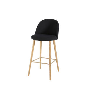 Black Vintage Bar Chair with Solid Ash