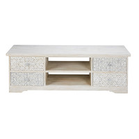 Bleached and sculpted mango wood TV unit Namaste