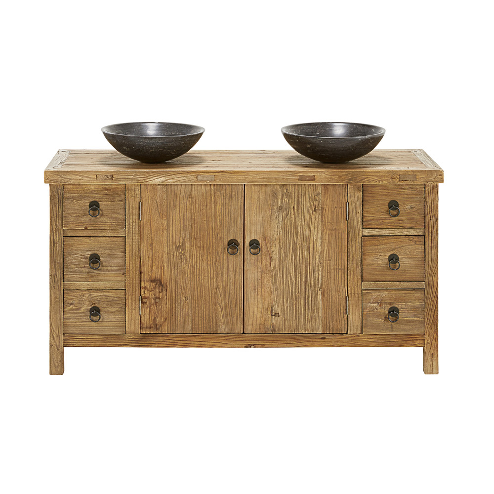 Blu Stone and Recycled Elm Double Sink Bathroom Vanity | Maisons du ...