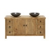 Blu Stone and Recycled Elm Double Sink Bathroom Vanity - Lotus