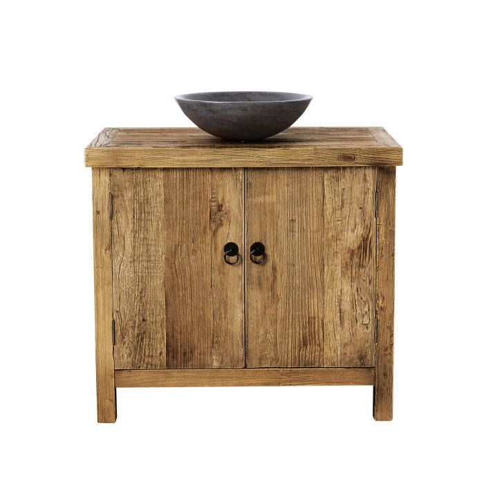 Blu Stone and Recycled Elm Single Sink Bathroom Vanity | Maisons du ...