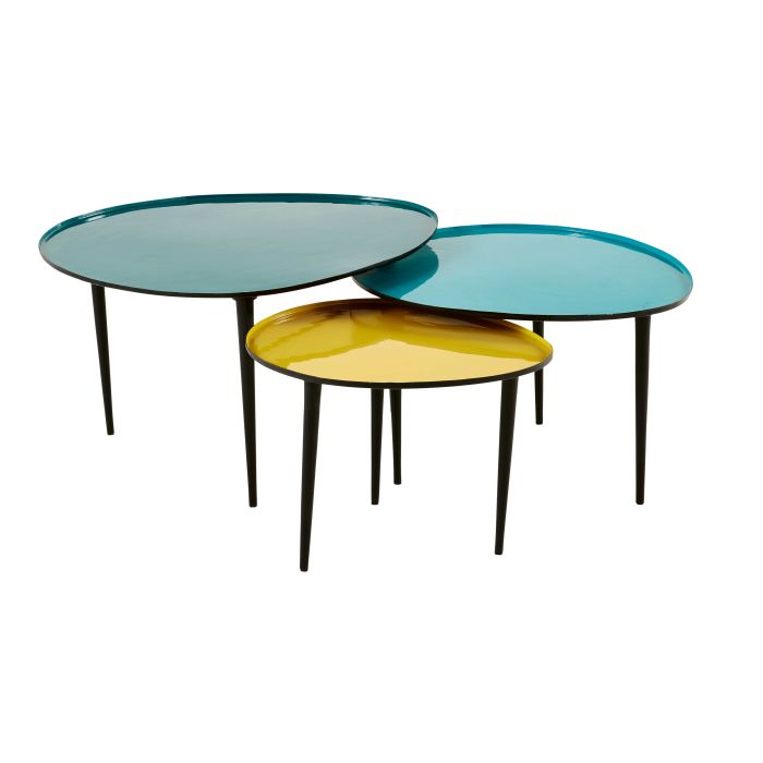 Blue And Yellow Lacquered Metal Nest Of Tables