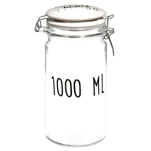 Bocal 1000 ml en verre H 20 cm KITCHEN LIMITED