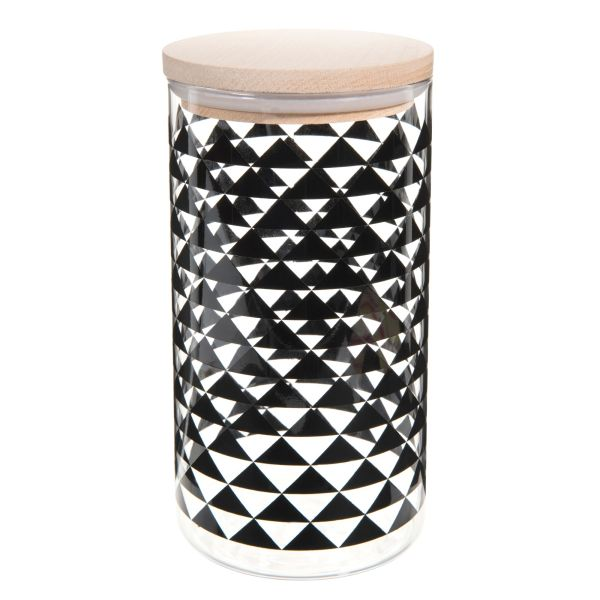 Bocal en verre noir H 19 cm TRIANGLES