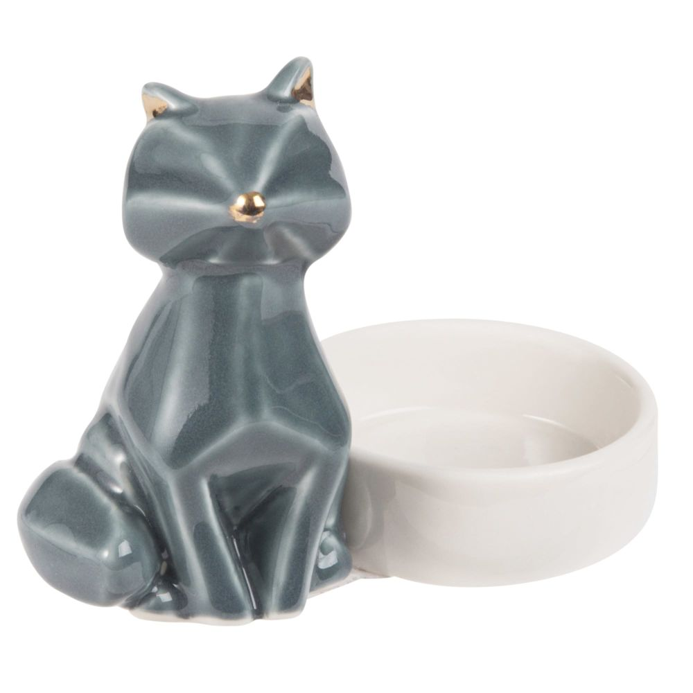 Bougeoir chat en porcelaine bleue (photo)