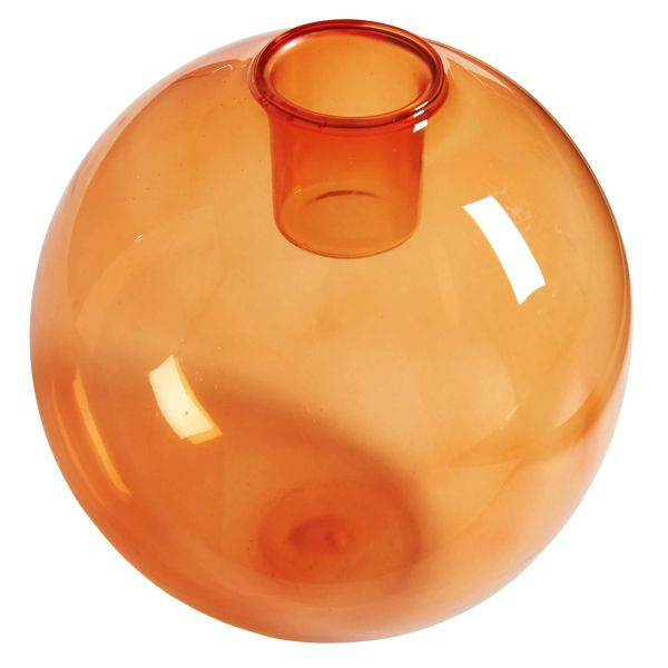 Bougeoir en verre teinté orange BUBBLE POP