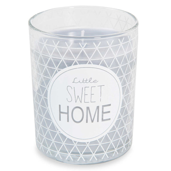 Bougie grise en verre H 10 cm LITTLE SWEET HOME