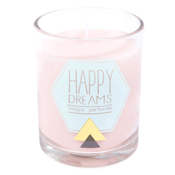 Bougie parfumée en verre rose H 10 cm HAPPY DREAMS