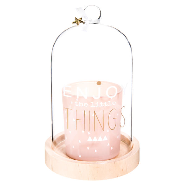 Bougie rose sous cloche H 18 cm ENJOY PASTEL