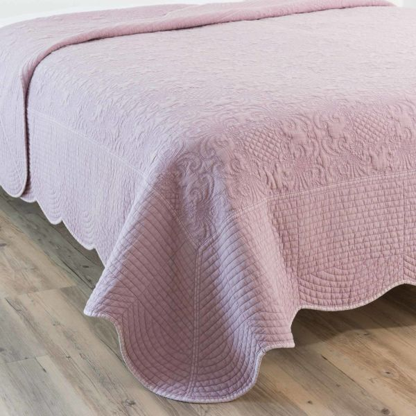 Boutis en coton rose 240 x 260 cm LUSSAC (photo)