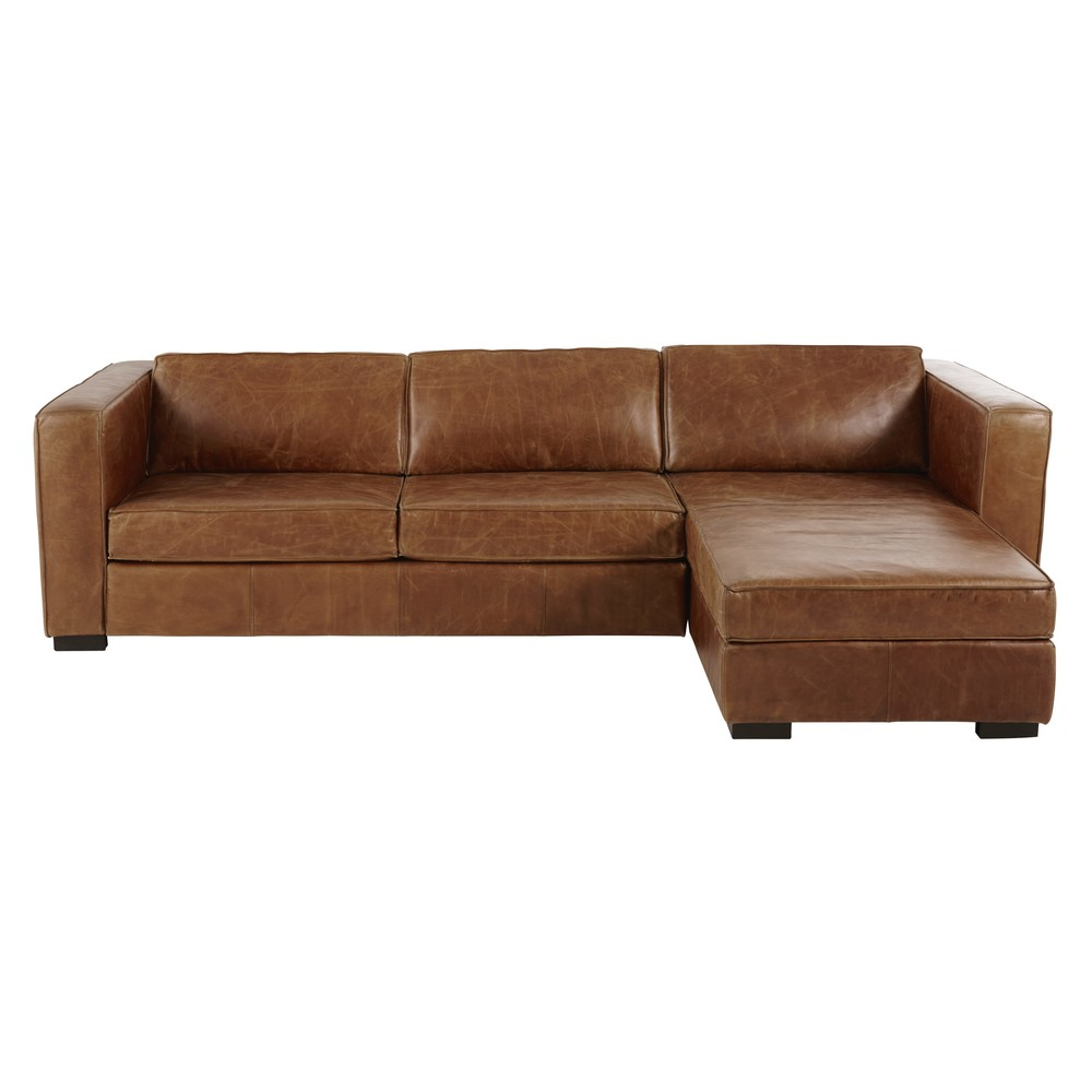 Brown 4 Seater Leather Right Hand Corner Sofa Bed