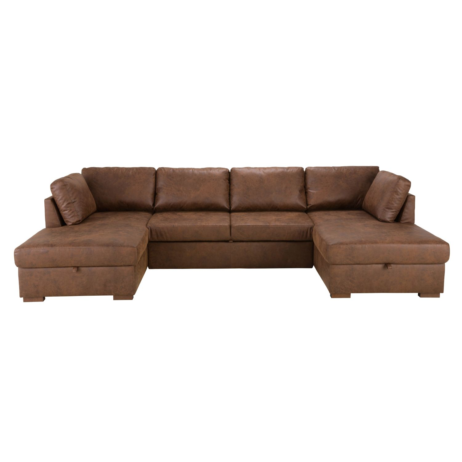 Brown 7 Seater Microsuede U Shaped Sofa Bed Maisons Du Monde