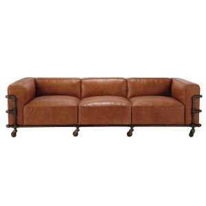 Brown Industrial 4-Seater Leather Sofa