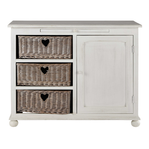 buffet en bois de paulownia blanc l 110 cm romance maisons du monde. Black Bedroom Furniture Sets. Home Design Ideas