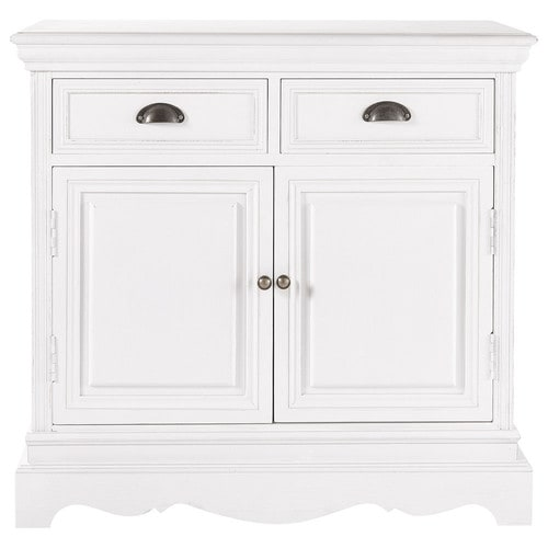buffet en bois de paulownia blanc l 86 cm jos phine maisons du monde. Black Bedroom Furniture Sets. Home Design Ideas