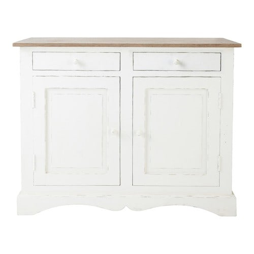 buffet en manguier blanc l 110 cm aubagne maisons du monde. Black Bedroom Furniture Sets. Home Design Ideas