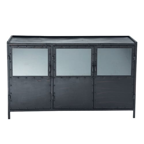 buffet indus vitr en m tal noir l 130 cm edison maisons. Black Bedroom Furniture Sets. Home Design Ideas
