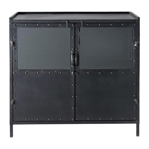 buffet indus vitr en m tal noir l 87 cm edison maisons. Black Bedroom Furniture Sets. Home Design Ideas