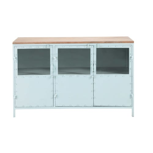 buffet vitr en m tal bleu l 130 cm bloom maisons du monde. Black Bedroom Furniture Sets. Home Design Ideas