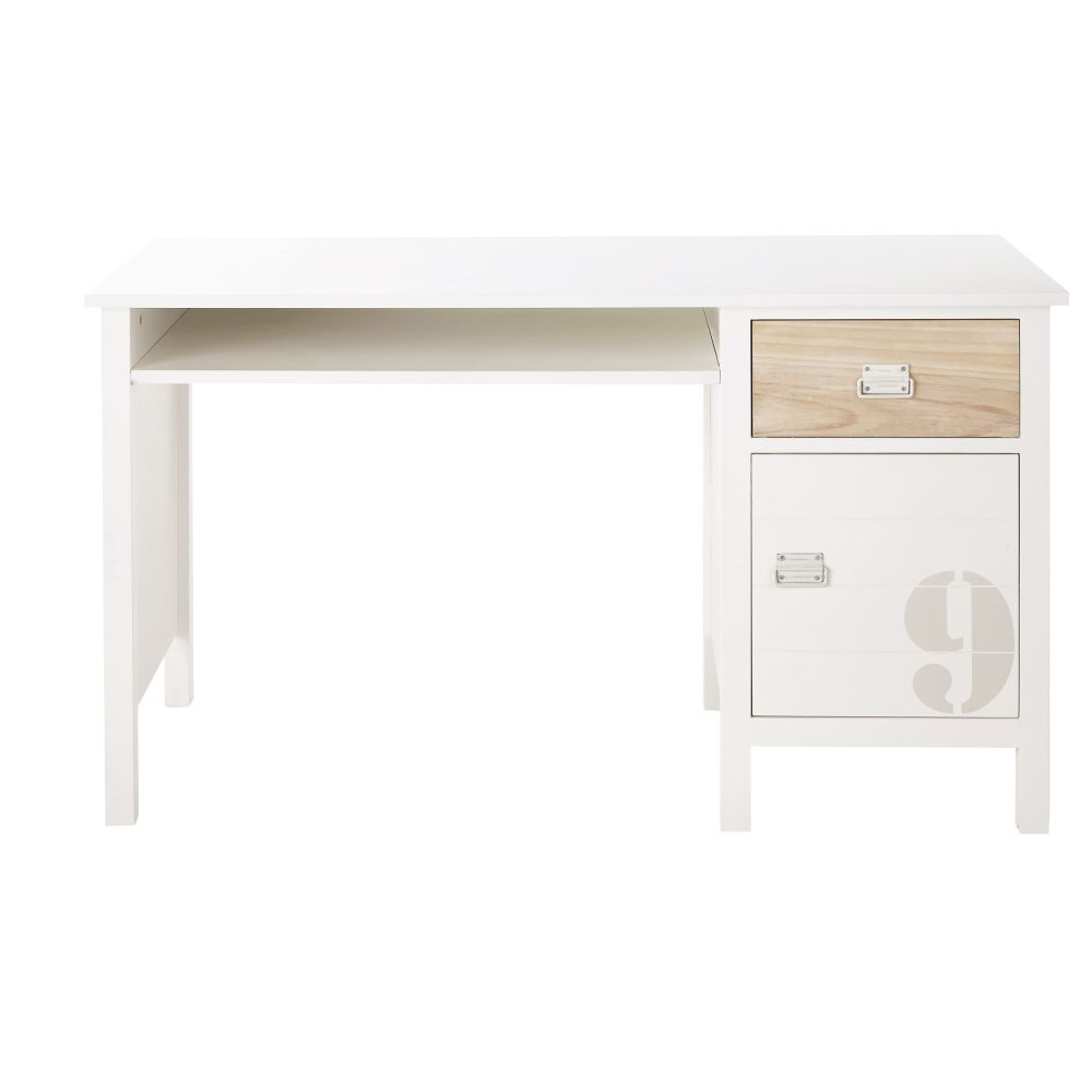 Bureau 1 tiroir 1 porte en pin blanc Marin (photo)