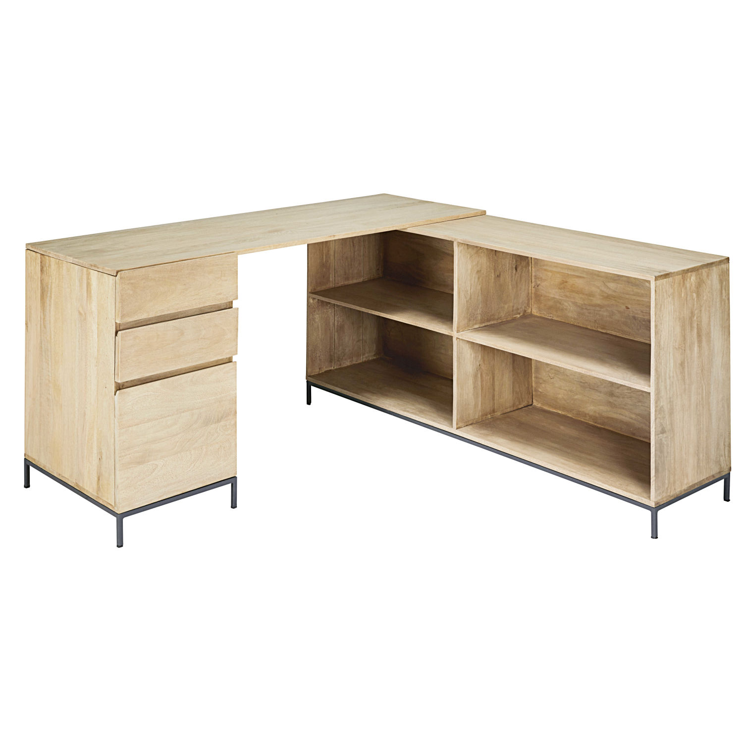 bureau d 39 angle 1 porte 2 tiroirs en manguier et m tal maisons du monde. Black Bedroom Furniture Sets. Home Design Ideas