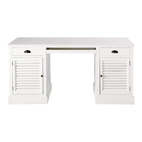 bureau en bois blanc l 150 cm barbade maisons du monde. Black Bedroom Furniture Sets. Home Design Ideas