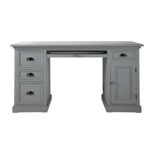 bureau en pin gris l 150 cm newport maisons du monde. Black Bedroom Furniture Sets. Home Design Ideas