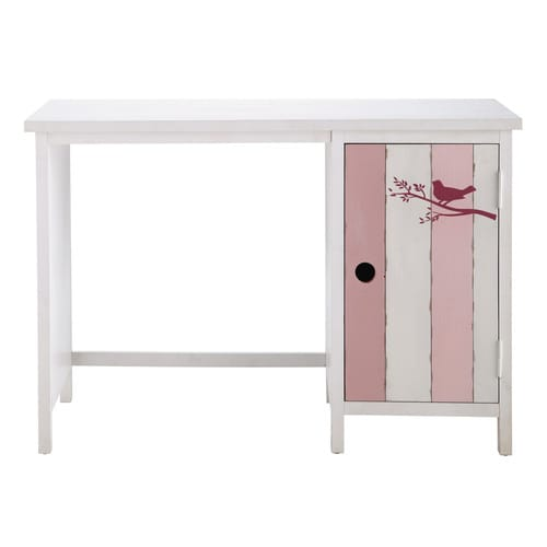 bureau enfant en bois rose et blanc l 110 cm violette maisons du monde. Black Bedroom Furniture Sets. Home Design Ideas