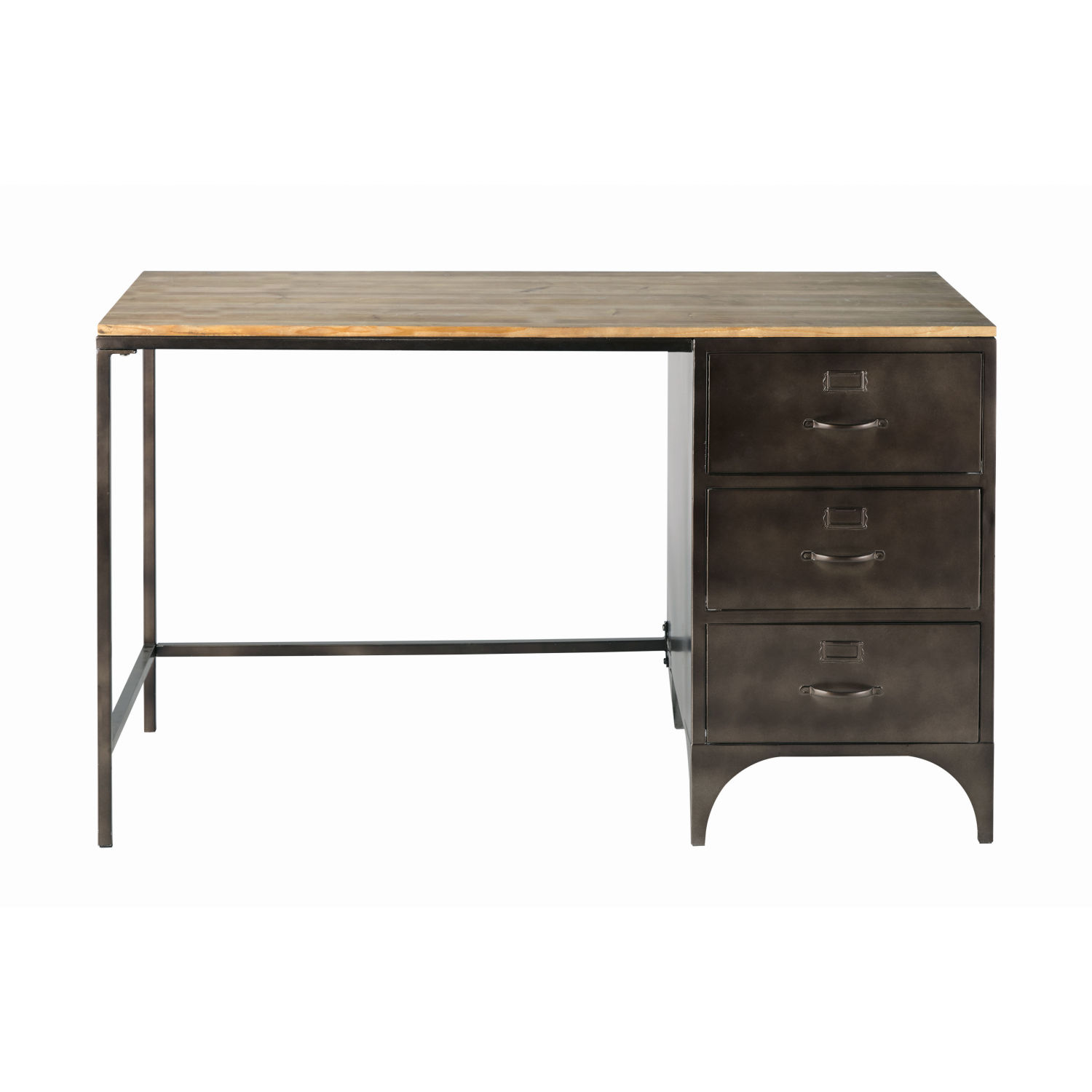bureau indus 3 tiroirs en m tal et sapin maisons du monde. Black Bedroom Furniture Sets. Home Design Ideas
