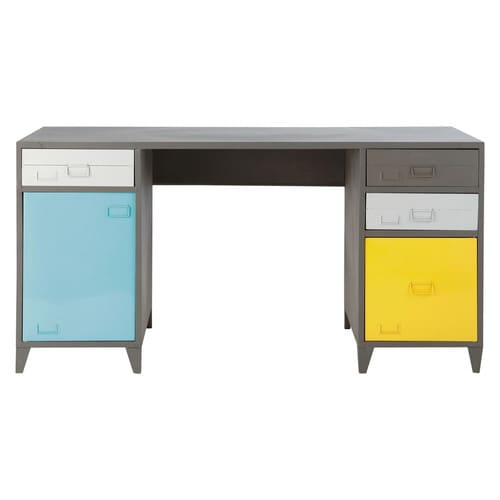 bureau indus en m tal gris l 150 cm espace maisons du monde. Black Bedroom Furniture Sets. Home Design Ideas