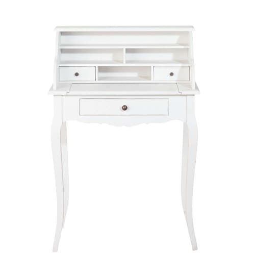 bureau secr taire en bois blanc l 68 cm s raphine maisons du monde. Black Bedroom Furniture Sets. Home Design Ideas