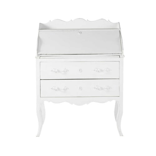 bureau secr taire en manguier blanc l 80 cm m dicis maisons du monde. Black Bedroom Furniture Sets. Home Design Ideas