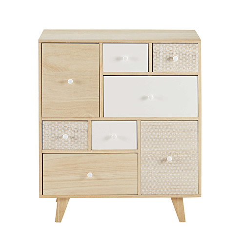 cabinet 8 tiroirs en paulownia spring maisons du monde. Black Bedroom Furniture Sets. Home Design Ideas
