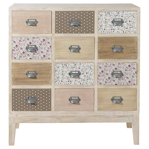 cabinet commode 12 tiroirs en bois l 75 cm pimprenelle. Black Bedroom Furniture Sets. Home Design Ideas