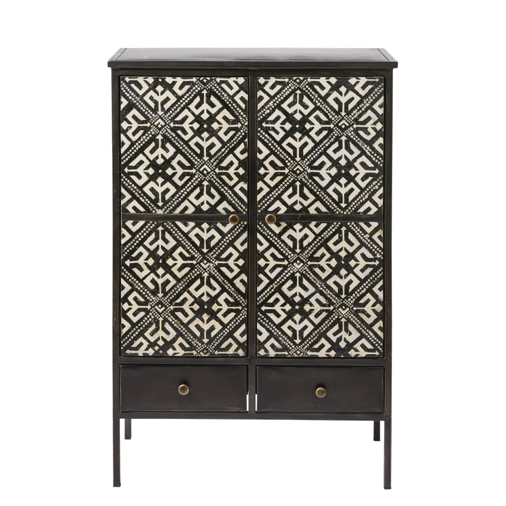 cabinet de rangement 2 portes 2 tiroirs noir motifs ivoire. Black Bedroom Furniture Sets. Home Design Ideas