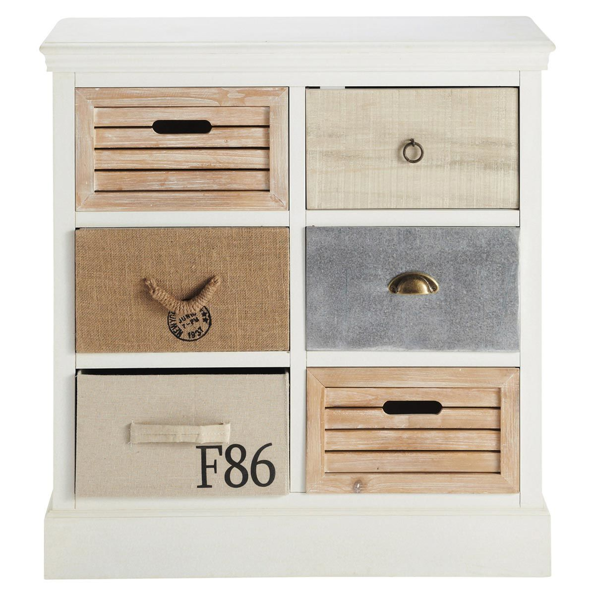 cabinet de rangement 6 tiroirs blanc maisons du monde. Black Bedroom Furniture Sets. Home Design Ideas
